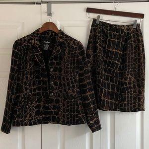 Vintage Printed Skirt Suit Set